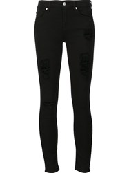 7 For All Mankind Ripped Skinny Jeans Black