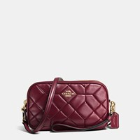 Coach Canyon Quilt Crossbody Clutch In Calf Leather Light Gold Burgundy