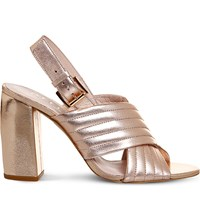 Office Americana Metallic Leather Sandals Rose Gold Leather