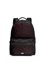 Dolce And Gabbana Leopard Print Nylon Backpack Red