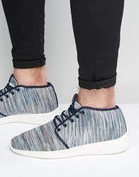 Pull And Bear Pullandbear Trainers In Blue With Knitted Stripes Blue Grey