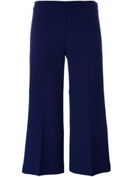 Msgm Wide Leg Cropped Trousers Blue