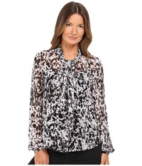 Mcq By Alexander Mcqueen Knotted Neck Blouse Black Ivory Pony Women's Blouse Multi