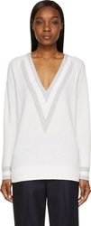 Rag And Bone White Cashmere Talia V Neck Sweater