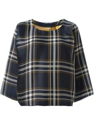 Sofie D'hoore Jacquard Plaid Oversized Blouse Blue