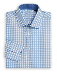 English Laundry Regular Fit Check Cotton Dress Shirt Blue