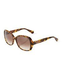 Thierry Mugler Square Tortoise Shell Plastic Sunglasses Brown
