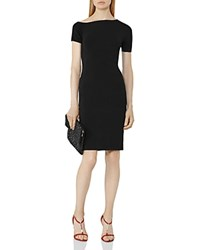 Reiss Palmer Asymmetric Knit Dress Black