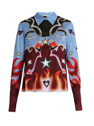 Mary Katrantzou Shane Motif Print Cotton Blend Poplin Shirt Blue Multi