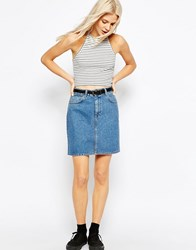Asos Denim Original High Waisted Mini Skirt In Mid Wash Blue Midwash Blue