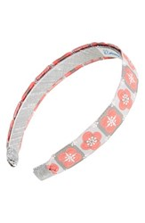 L. Erickson Satin Ribbon Headband Grey Floral Tiles Pink Grey