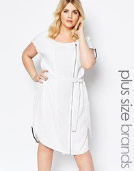Carmakoma Zip Front Shift Dress With Belt Detail White
