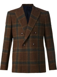 Massimo Piombo Double Breasted Checked Blazer Brown