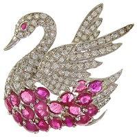 Eclectica Vintage 1980S Rhodium Plated Swan Faux Ruby Cubic Zirconia Brooch Silver Red