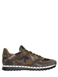 Valentino Studded Suede And Nylon Sneakers