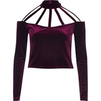 River Island Womens Dark Red Velvet Choker Crop Top
