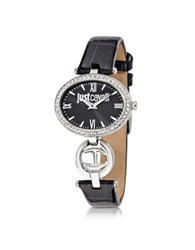 Just Cavalli Just Icon Silver Stainless Steel W Black Croco Embossed Patent Leather Women's Watch