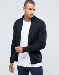 Jack And Jones Ribbed Funnel Neck Zipped Cardigan Black