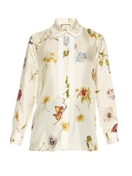 Gucci Windly Flowers Print Satin Blouse White Multi