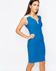 Vesper Emmi Pencil Dress With Notch Neckline Blue
