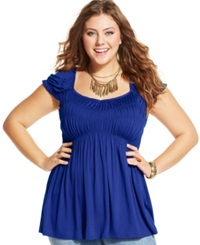 American Rag Plus Size Cap Sleeve Babydoll Top Surf The Web