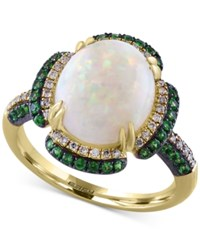 Effy Opal 2 1 2 Ct. T.W. Tsavorite 1 2 Ct. T.W. And Diamond 1 6 Ct. T.W. Ring In 14K Gold White