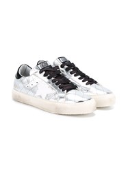 Golden Goose Quilted Leather Low Top Trainers Silver Black Golden Metallic Silver Denim