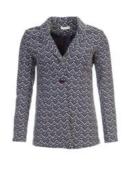 Lavand Printed Cotton Blend Blazer Navy