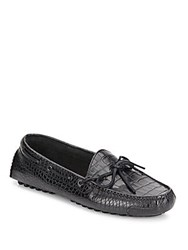 Cole Haan Gunnison Croc Embossed Leather Moccasins Black