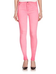Giambattista Valli For 7 For All Mankind Neon High Rise Skinny Jeans Flaming Pink