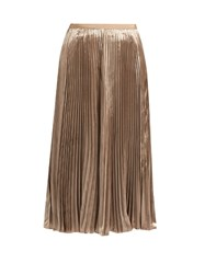 Valentino Pleated Velvet Midi Skirt Nude