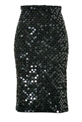 Cedric Charlier Sequined Wool Pencil Skirt Green
