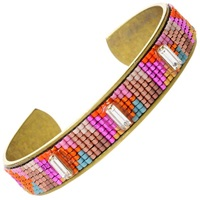 Beaded Brass Cuff Fractal Pink