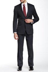 Kenneth Cole Reaction Gray Pinstripe Two Button Notch Lapel Suit Black