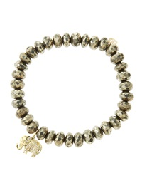 Sydney Evan 8Mm Faceted Champagne Pyrite Beaded Bracelet With 14K Gold Diamond Small Elephant Charm Made To Order