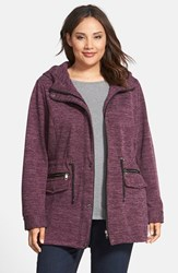 Plus Size Women's Steve Madden Sweater Knit Anorak Wine