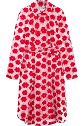 Simone Rocha Floral Embroidered Knitted Cotton Blend Coat Pink