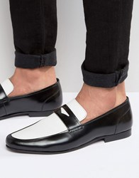 Asos Loafers In Black Leather Black White