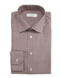 Eton Contemporary Fit Bold Gingham Dress Shirt Brown Men's