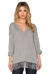 525 America Fringe Poncho Long Sleeve Top Gray