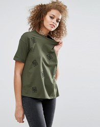 Asos T Shirt With Military Badges Khaki Green