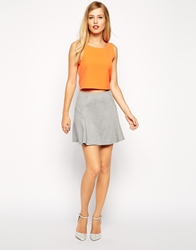 Asos Skater Skirt In Ponte With Fluting Grey