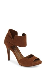 Women's Pedro Garcia 'Swan' Ankle Cuff Sandal Tobacco Suede