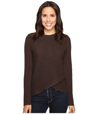 Christin Michaels Louisa Cross Front Crew Neck Cashmere Sweater Bittersweet Women's Sweater Brown