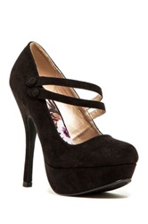 Qupid Onyx Platform Stiletto Pump Black