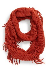 Junior Women's Bp. Fringe Trim Infinity Scarf Orange Paprika