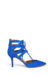 Aquazzura 'Belgravia' Caged Suede Pumps Blue