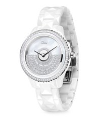 Christian Dior Dior Viii Grand Bal Diamond Mother Of Pearl And Ceramic Bracelet Watch White