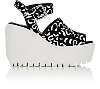 Opening Ceremony Women's Luna Suede Platform Wedge Sandals Black White Black White