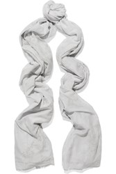 Donna Karan Printed Cotton And Silk Blend Scarf Gray
